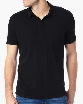 7 For All Mankind Short Sleeve Raw Placket Polo in Black