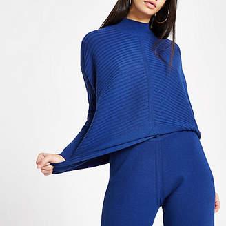 River Island Dark blue knit high neck long sleeve sweater