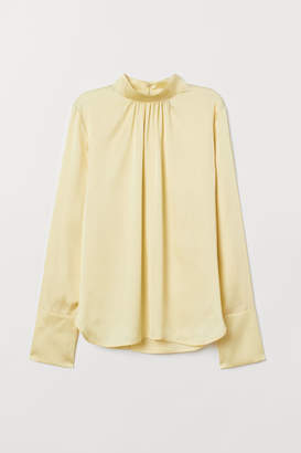 H&M Stand-up Collar Satin Blouse - Yellow