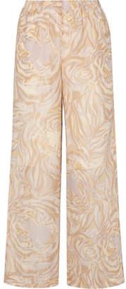 See by Chloe Tiger-print Silk-georgette Wide-leg Pants - Beige