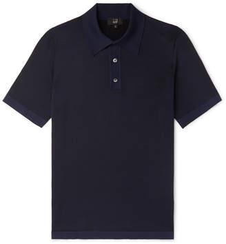 Dunhill Herringbone-Knit Mulberry Silk Polo Shirt