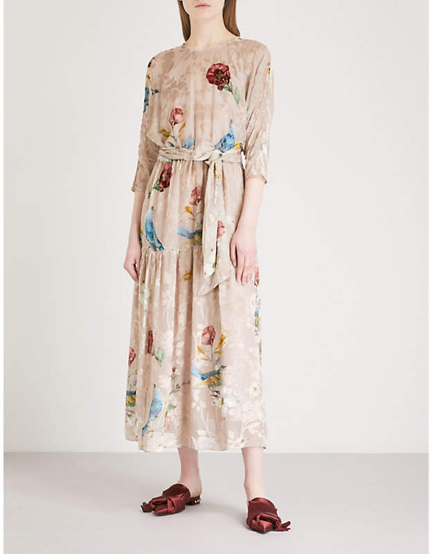 ALENA AKHMADULLINA Flocked floral-pattern belted woven midi dress