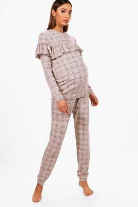 boohoo Maternity Check Knot Front Lounge Set