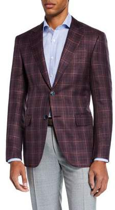 Canali Men's Brick Plaid Blazer