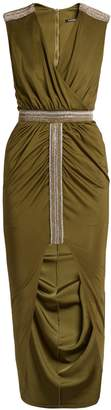 Balmain Wrap-front embellished V-neck dress