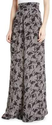 Johanna Ortiz Tonga High-Waist Zebra-Print Wide-Leg Silk Palazzo Pants