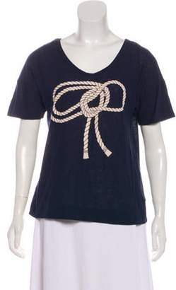Stella McCartney Graphic Scoop Neck T-Shirt Navy Graphic Scoop Neck T-Shirt