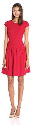 Lark & Ro Women's Cap Sleeve Pleated Fit and Flare Dress