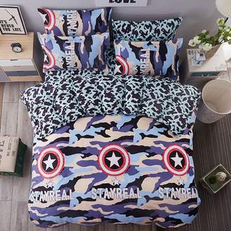 LovingIn Military US Western texas Star, 4pcs Bedding Cover Sets Teens Kids for Bed and Queen Bed Boys Girls Duvet Cover Sets