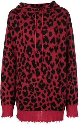 R 13 leopard print hoodie