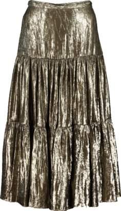 Michael Kors Crushed Lamé Tiered Skirt