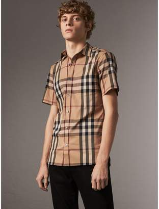 Burberry Short-sleeved Check Stretch Cotton Shirt