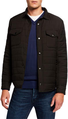 Neiman Marcus Men's Quilted Snap-Front Jacket