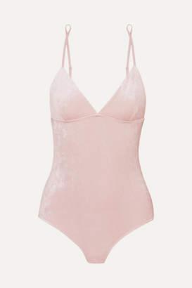 e3e95e9d71 Base Range Baserange - Mississippi Modal-blend Velour Bodysuit - Pastel pink