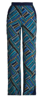 Talitha - Painted Jasmin Graphic Print Wide Leg Trousers - Womens - Blue Multi