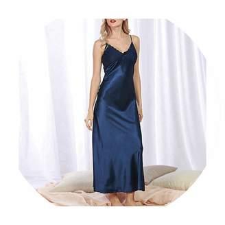 a393e0a8b0 Toping Fine Women Sexy Lingerie Nightdress Lace Nightgown Nightie Silk Satin  Long Nightdress