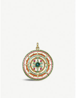Thomas Sabo 18ct gold-plated sterling silver and enamel amulet pendant
