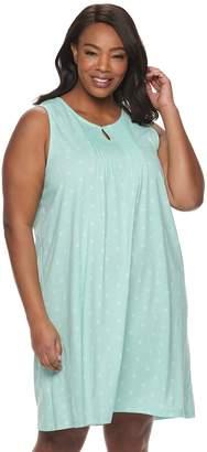 Croft & Barrow Plus Size Pintuck Keyhole Nightgown