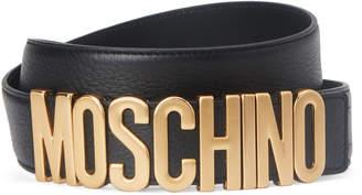 Moschino Black Leather & Gold-Tone Logo Keeper Belt