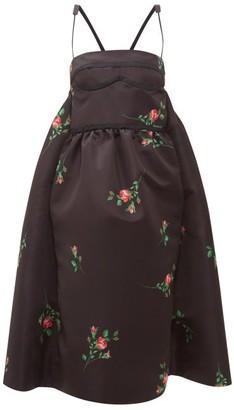 Rochas Rose Print Duchess Satin Midi Dress - Womens - Black Print