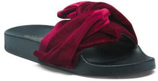 Velvet Twist Bow Slide Sandals