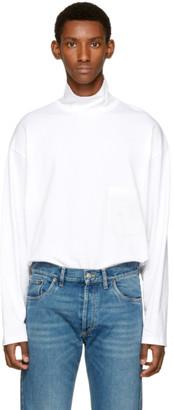 Balenciaga White Jersey Turtleneck $395 thestylecure.com