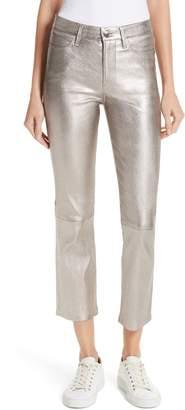 Frame Straight Leg Metallic Leather Pants