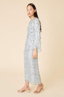 Mansur Gavriel Floral Embellished Silk Evening Gown - Sky Blue