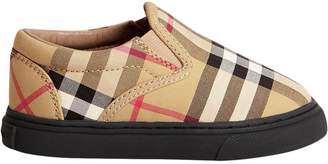Burberry Vintage Check and Leather Slip-on Sneakers