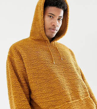 Asos DESIGN tall oversized hoodie in brown borg