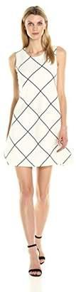 Tiana B Women's Sleeveless Grid Printed Knit Trapeze Dress