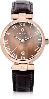Lancaster Chimaera Rose Gold Stainless Steel and Brown Croco Leather Watch