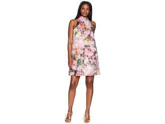 London Times Print Cotton Neck Bow Tie Dress Women's Dress