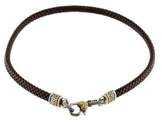 Judith Ripka Diamond & Leather Necklace