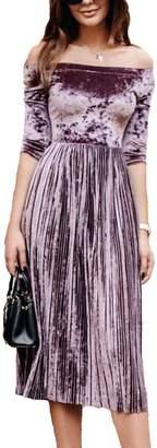 Leezeshaw Womens Off Shoulder 3/4 Sleeve Empire Pleated Velvet A-line Midi Dress