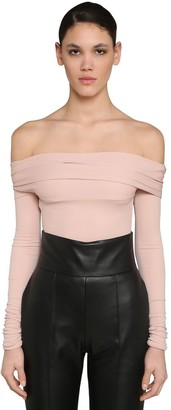 Alexandre Vauthier Off Shoulder Stretch Jersey Bodysuit