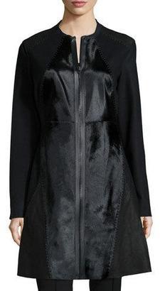 Elie Tahari Dawson Leather & Calf-Hair Mid-Length Coat $1,998 thestylecure.com