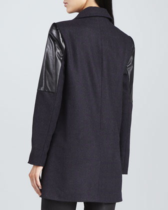 Yigal Azrouel Cut25 by Houndstooth Leather-Panel Coat