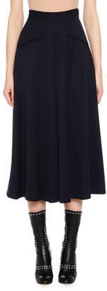 Alexander McQueen High-Waist Wide-Leg Grain de Poudre Wool Culotte Pants