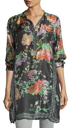 Johnny Was Camilla Long Floral-Print Silk Tunic, Plus Size $265 thestylecure.com