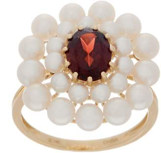 Honora Gemstone and Pearl Flower Ring, 14K Gold
