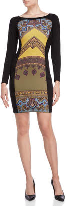 Hale Bob Printed Long Sleeve Bodycon Dress