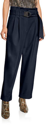 Brunello Cucinelli Couture Gabardine Relaxed-Fit Pants