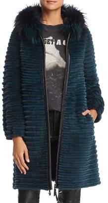 Maximilian Furs Hooded Beaver Fur Coat with Fox & Mink Fur Trim- 100% Exclusive