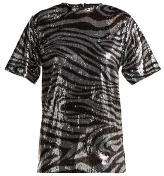 Halpern - Zebra Patterned Sequinned T Shirt - Womens - Silver Multi