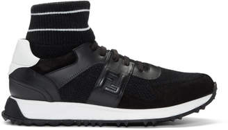 Fendi Black and White Running High-Top Sneakers