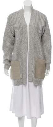 Edun Leather-Trimmed Alpaca-Blend Cardigan