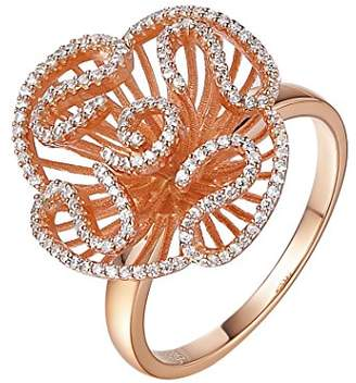 L・I・U Fei Liu Fine Jewellery Cascade Womens Stud Ring size M in Rose Gold colour Award winning Design 925 Sterling Silver AAA Cubic Zirconia Gift Box Packed