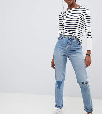 Asos Tall DESIGN Tall Recycled Ritson rigid mom jeans in divinity rich mid blue wash with rip & repair detail