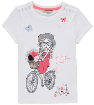 Bell George White Embellished Bicycle Graphic Top